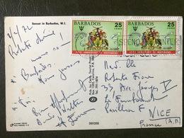 BARBADES Sur Carte Postale Entière Timbre Sur Timbre - Barbades (1966-...)
