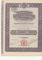 """PART DE FONDATEUR - SOCIETE ANONYME DES CYCLES - """"LA FRANCAISE """" 1919 - Industrie"""
