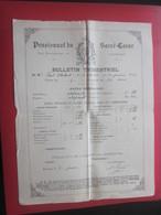 1902 PENSIONNAT DU SACRE CŒUR R. BARTHÉLEMY MARSEILLE Bulletin Scolaire Trimestriel Notes Générales Paul Chabert - Diplômes & Bulletins Scolaires