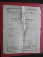 1904 PENSIONNAT DU SACRE CŒUR R. BARTHÉLEMY MARSEILLE Bulletin Scolaire Trimestriel Notes Générales Paul Chabert - Diplômes & Bulletins Scolaires