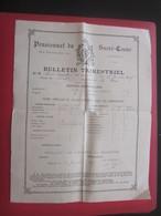 1905 PENSIONNAT DU SACRE CŒUR R. BARTHÉLEMY MARSEILLE Bulletin Scolaire Trimestriel Notes Générales Paul Chabert - Diplômes & Bulletins Scolaires