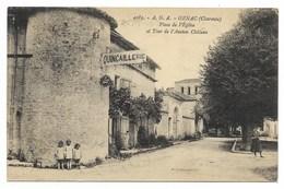 16-GENAC-Place De L'Eglise Et Tour De L'Ancien Château...1928  Animé  Quincaillerie - France