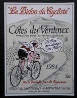 ETIQUETTE CYCLISME LE BISON CYCLISTE COTES DU VENTOUX CARPENTRAS 1984 - Cyclisme
