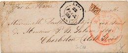Lettre Cachet D'essai Lyon Rhone Pour Charlestone Par Le Havre - 1801-1848: Precursors XIX