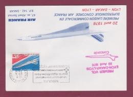 AVIATION - 081018 -  Premier Vol  Commercial CONCORDE AIR FRANCE LYON DAKAR LYON 1976 Timbre France - Flugzeuge