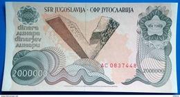 Yugoslavia 2.000.000 Dinara 1989 UNC - Yugoslavia