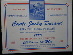 ETIQUETTE CYCLISME CUVEE JACKY DURAND PREMIERES COTES DE BLAYE 1990 CHATEAU LE MIL - Cyclisme