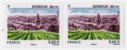 FRANCE 2012 Deux Timbres (2) YT N° 4645** Série Touristique  EPERNAY (Marne) Vue De La Ville Et Des Vignes - France