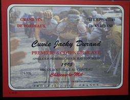 ETIQUETTE CYCLISME CUVEE JACKY DURAND PREMIERES COTES DE BLAYE 1995 CHATEAU LE MIL - Cyclisme