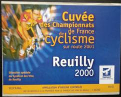 ETIQUETTE CYCLISME CUVEE DES CHAMPIONNATS DE FRANCE DE CYCLISME SUR ROUTE 2001 REUILLY 2000 - Cyclisme