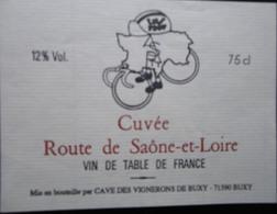 ETIQUETTE CYCLISME CUVEE ROUTE DE SAONE-ET-LOIRE BUXY - Cyclisme