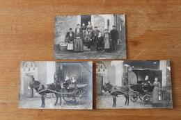 3 Cartes Photos  Les Caleches Hippomobiles  1906  Avec Un Ane - Photographs