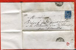 71 Lettre Origine Rurale 1880 Cachet OR Saint Bérain Sous Sanvignes Bureau Postal Montceau-les-Mines Destination Charoll - Postmark Collection (Covers)