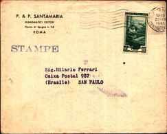 72452) LETTERA CON 10 L.ITALIA AL LAVORO DA ROMA ASAN PAULO  IL 27-7-1951 TARIFFA STAMPE - 1946-.. République