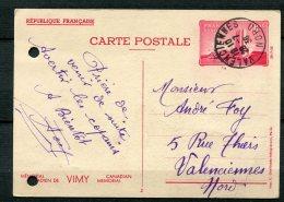 8982  FRANCE  N° 8 CP  90c. Rouge  Mémorial De Vimy Obl. De Valenciennes   1936  B/TB - Entiers Postaux