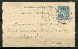 8992  FRANCE  N° 90 CL 1  15c. Bleu  CàD De Vrecourt Du 5 NOV. 98   B/TB - Postal Stamped Stationery