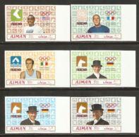 Ajman 1969 Mi# 448-453 B ** MNH - Imperf. - Summer Olympics, Mexico / Gold Medallists - Zomer 1968: Mexico-City