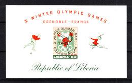 Liberia  -1968. Pattinaggio Artistico. Raro BF  Imperforato. Figure Skating. Rare Imperforate Sheet. MNH - Winter 1968: Grenoble