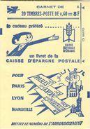 """CARNET 1536B-C 2 Marianne De Cheffer  """"CAISSE D'EPARGNE POSTALE"""" Daté 11/10/68 Conf. 6 Fermé. Parfait état, RARE. - Usage Courant"""