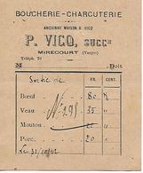 Facturette 88 MIRECOURT / Boucherie Charcuterie / P. VICQ - Alimentaire