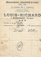 Facturette 1914 / 88 MIRECOURT / LOUIS-RICHARD / Boucherie Jeanne D'Arc - Alimentaire