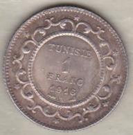 PROTECTORAT FRANCAIS. 1 FRANC 1916 (AH 1335) , En Argent - Tunisia