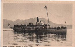 """Bateau """"France"""" Rentrant Au Port D'Annecy/ Compagnie Des Bateaux Vapeurs/Vers 1930-1950   MAR56 - Passagiersschepen"""