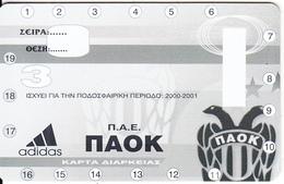 GREECE - PAOK FC, Season Ticket 2000-2001, Unused - Sport