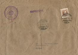 Andorra Española. Ø 915 (España) En Carta Circulada De Andorra La Vella A Burgos, El Año 1946. Gran Formato. - Andorra Española