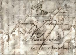 """D.P. 5. 1807. Carta De Cette (Francia) A Tarragona. Marca """"33/SETE"""" En Negro Y Porteo Mms """"7 Reales"""". 2 Cortes De Desinf - España"""