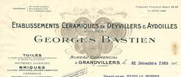 Facture Lettre 1929  / 88 GRANDVILLERS / G. BASTIEN / Céramiques De DEYVILLERS Et AYDOILLES / Tuiles, Briques - France