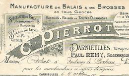 Facture 1910 / 88 DARNIEULLES / C. PIERROT / P. REMY / Manufacture De Balais Et Brosses / Balais Américains Et Marocains - 1900 – 1949