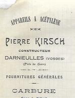 Facture Lettre 1912 / 88 DARNIEULLES / P. KIRSCH / Constructeur / Appareils à Acétylène / Carbure - 1900 – 1949