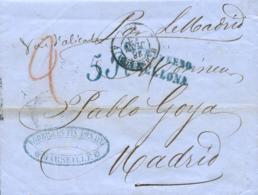 """Carta De Marsella A Madrid, El 28 JUN 1858. Dople Porte 5 Reales. Marca """"ESTRANGERO BARCELONA"""". Manuscrito """"Vapor Madrid - 1850-68 Reino: Isabel II"""