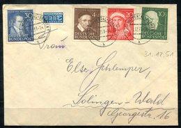 4214 - BUND - Mi.Nr. 143-146 Auf Brief Von Wuppertal > Solingen - [7] République Fédérale