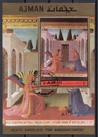 "Ajman 1972 Bf. 474A ""L ' Annunciazione"" Quadro Dipinto Da Beato Angelico Sheet Perf. CTO Paintings Tableaux - Quadri"