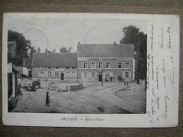 Cpa Velzeke-Ruddershove Velsique - Grand Place - Celeierwerk Yzerwaren - Chocolat Chartreux Mons - 1909 - Zottegem