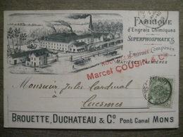 Cpa Publicitaire - Usine Fabrique D'engrais Chimiques Superphosphates - Mons Pont Canal Brouette Duchateau 1909 - Mons
