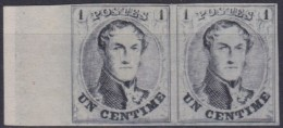 Belgie  .   1c Noir - Réimpression De 1929 En Paire  .  (*)    .      Geen Gom  .  /  . Pas De Gomme - 1849-1850 Medallions (3/5)