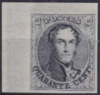 Belgie  .   40c Noir - Réimpression De 1929   .  (*)    .      Geen Gom  .  /  . Pas De Gomme - 1849-1850 Medallions (3/5)