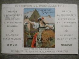 Rare Cpa Litho Exposition Bruxelles 1910 - Central Taverne Grand Place - Vins Brasserie Koekelberg Bock Hackerbrau - Bruxelles-ville