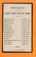 FAIRE PART  -  LISTE DES SOLDATS MORTS POUR LA FRANCE  -  BROXEELE  ( 59 )  1914 à 1921 - 1914-18