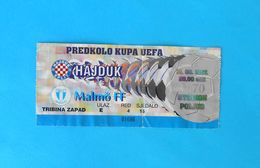 HNK HAJDUK V MALMO FF - 1997. UEFA CUP Qual. Football Match Ticket * Soccer Billet Foot Fussball Calcio Biglietto Sweden - Match Tickets