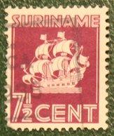 7 1/2 Ct Scheepje Schip Ship Boat Bateau Navire Schiff  NVPH 166 Mi 186 Yv - 1936 Used / Gestempeld SURINAME / SURINAM - Surinam ... - 1975