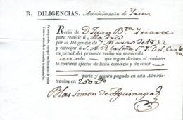 1832. Recibo Para La Entrega De Un Paquete, Irún-Madrid. Para Entregar A La Reina. - Cartas