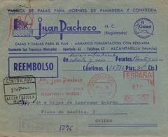 1970 , MURCIA , ALCANTARILLA - OVIEDO , CERTIFICADO CONTRA REEMBOLSO DE 16.786 PESETAS., LLEGADA - 1931-Aujourd'hui: II. République - ....Juan Carlos I
