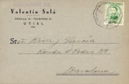 """Ø 656 En T.P. A Barcelona, En 1934. Mat. """"Amb. 2 - Valencia - Utiel"""". - 1889-1931 Reino: Alfonso XIII"""