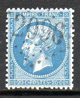FRANCE - 1862 - Second Empire - Napoléon III - N° 22 - 20 C. Bleu (Oblitération : Losange Gros Chiffres) - 1862 Napoleon III