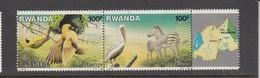 1986 Rwanda 100F PELICAN, WEAVER, Zebra  Birds Oiseaux Pair MNH   Much Cheaper Than Buying In Set - Pelicans