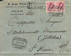 TÁNGER. Ø 7(2) En Sobre Circulado Por Certificado De Tánger A Italia. Al Dorso Tránsito Y Llegada. - Marruecos Español